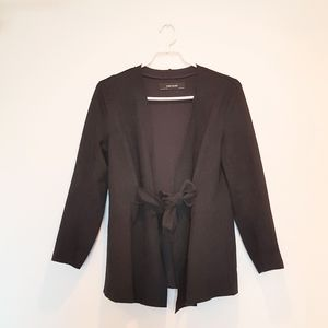 Zara Faux Suede Black Jacket with Belt, M